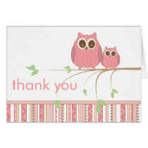 Mama Owl & Baby Owl in Pink Thank You Card