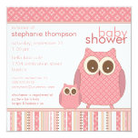 Mama Owl & Baby Owl PInk Baby Shower 5.25x5.25 Square Paper Invitation Card