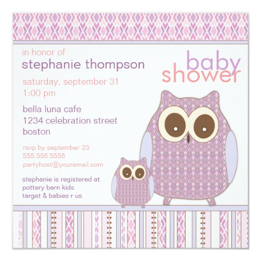 Mama Owl & Baby Owl Purple Baby Shower 5.25x5.25 Square Paper Invitation Card