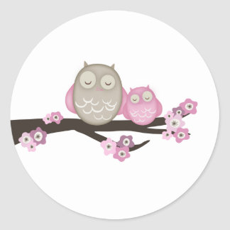Mama Owl & Baby {Pink} | Stickers
