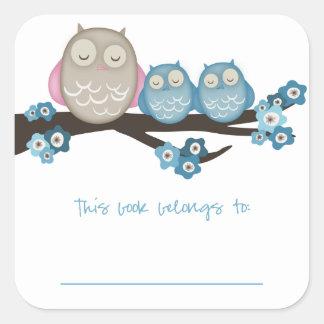 Mama Owl & Twins {Blue} | Bookplates