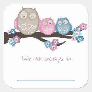 Mama Owl & Twins {Pink & Blue} | Bookplates