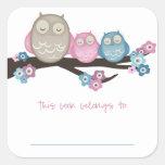Mama Owl & Twins {Pink & Blue} | Bookplates Square Sticker