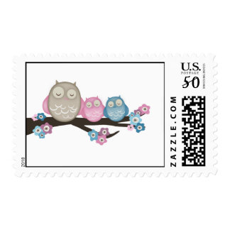 Mama Owl & Twins {Pink & Blue} | Stamps