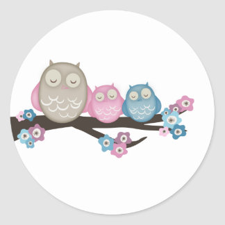 Mama Owl & Twins {Pink & Blue} | Stickers