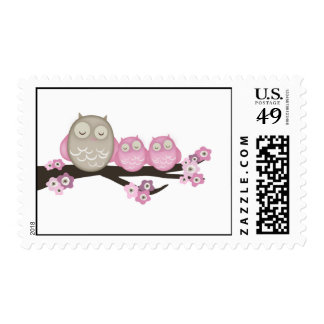 Mama Owl & Twins {Pink} | Stamps