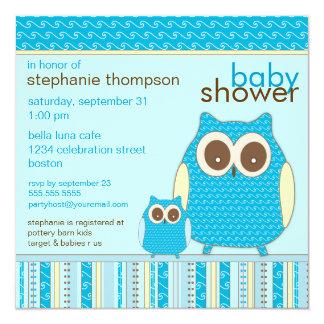 """Mamá Owl y fiesta de bienvenida al bebé del azul Invitación 5.25"""" X 5.25"""""""