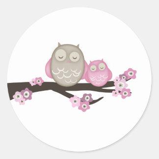 Mamá Owl y pegatinas del bebé {rosa} el | Pegatina Redonda