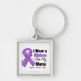 Mama - Pancreatic Cancer Ribbon Silver-Colored Square Keychain
