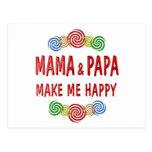 Mamá Papa Happiness Tarjeta Postal