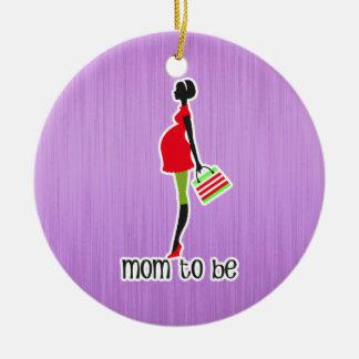 Mamá para ser mujer embarazada personalizada adorno navideño redondo de cerámica