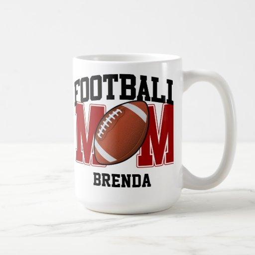 Mamá personalizada del fútbol (del rojo) tazas de café