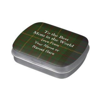 Mamá personalizada tartán verde frascos de dulces