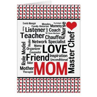 Mamá polivalente asombrosa - tarjeta del día de ma