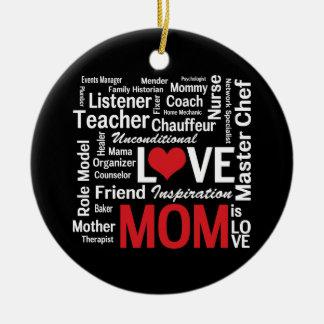 Mamá polivalente - el día de madre o el cumpleaños adorno navideño redondo de cerámica
