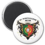 Mamá portuguesa del número uno imanes de nevera