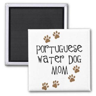 Mamá portuguesa del perro de agua imán cuadrado