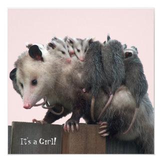 "Mama Possum Humorous Baby Shower Invitation 5.25"" Square Invitation Card"