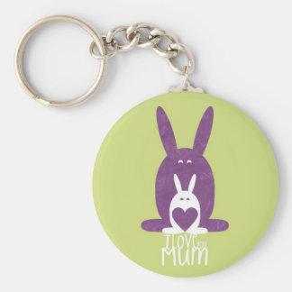 Mamá púrpura del conejo llavero personalizado