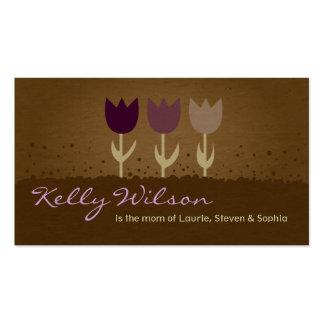 Mamá púrpura del tulipán que llama tarjetas de vis tarjetas de visita