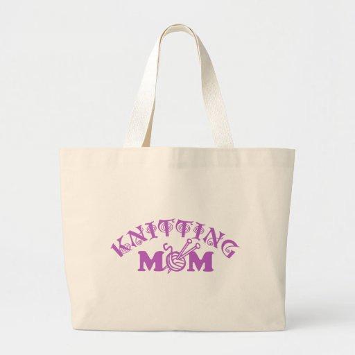 Mamá que hace punto bolsa tela grande