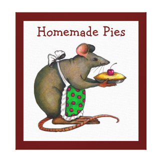 Mama Rat Holding Pie: Color Pencil Art Canvas Print