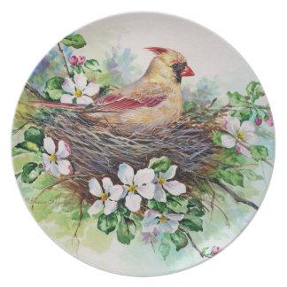 Mama Redbird Cardinal in Nest Plate