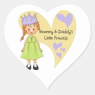 Mamá roja del pelo y la princesa del papá calcomanías corazones