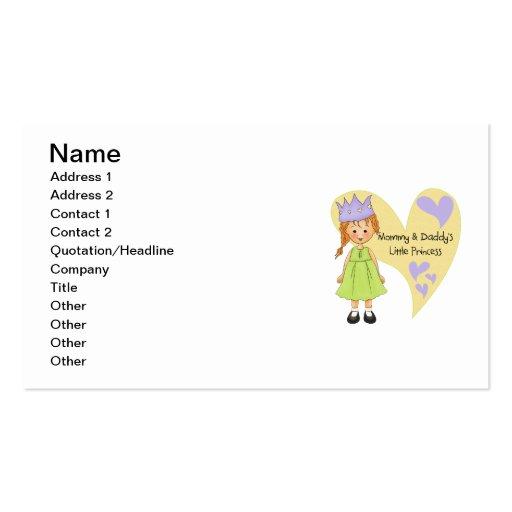 Mamá roja del pelo y la princesa del papá tarjetas personales