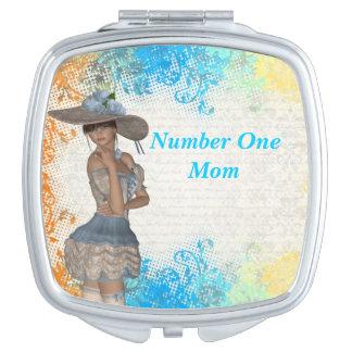Mamá romántica bonita del número uno espejo compacto