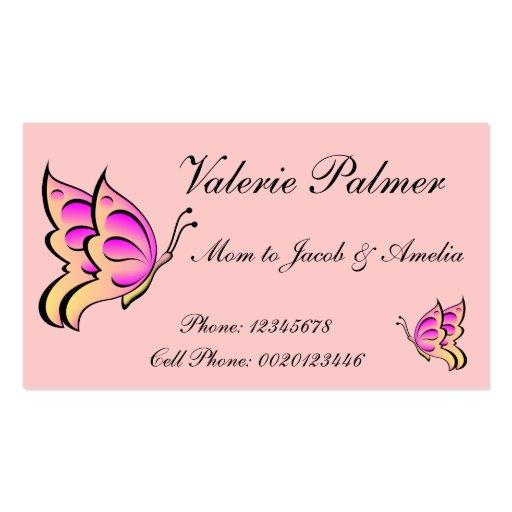 Mamá rosada de la mariposa que llama Card..2 Tarjeta Personal