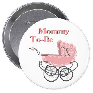 Mamá rosada del cochecito de niño del vintage a se pin redondo 10 cm