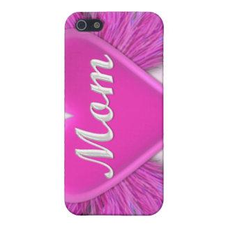 MAMÁ rosada del corazón iPhone 5 Carcasas