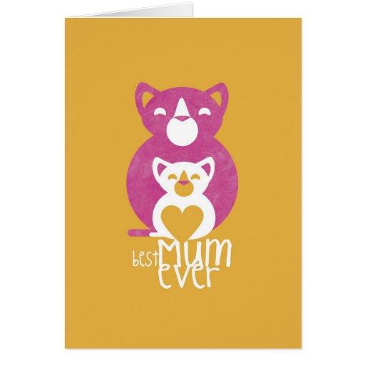 Mamá rosada del gato tarjeta de felicitación