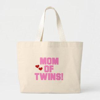 Mamá rosada del texto de gemelos bolsa tela grande