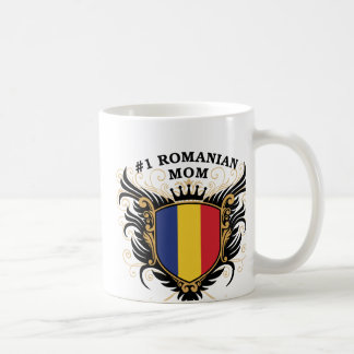 Mamá rumana del número uno taza básica blanca