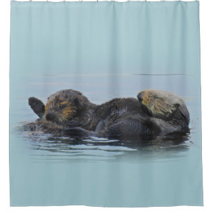 Mama Sea Otter And Her Babe Shower Curtain