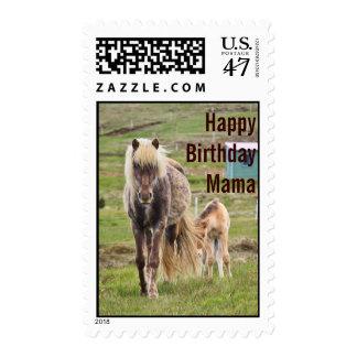 Mamá Stamp del feliz cumpleaños de la yegua y del Timbre Postal
