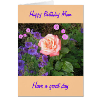 Mamá subió melocotón del cumpleaños tarjeta de felicitación