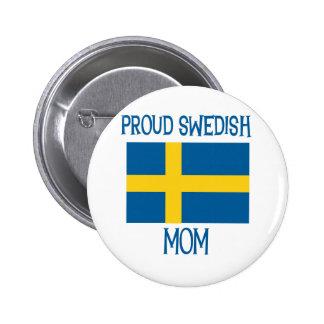 Mamá sueca orgullosa pin redondo de 2 pulgadas