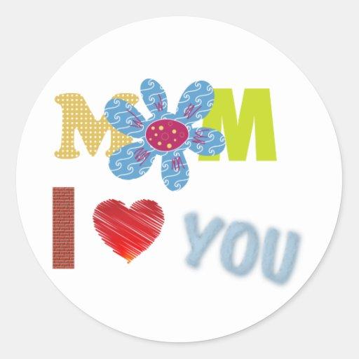 Mamá te amo pegatinas redondas