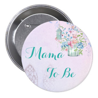 Mama to be Floral Cottage Baby Shower Button