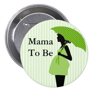 Mama to Be Green Themed Baby Shower Button