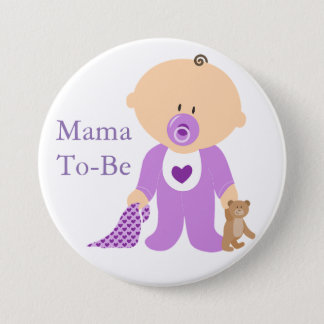 Mama To Be Purple Baby Button