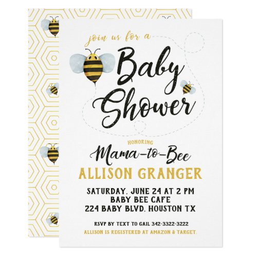 Mama to Bee Baby Shower Invitation