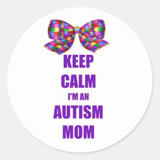 Mamá tranquila del autismo pegatina redonda