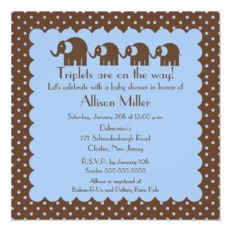 "Mama & Triplet Baby Elephants Boy Baby Shower 5.25"" Square Invitation Card"