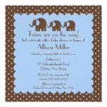 Mama & Twin Baby Elephants Boy Baby Shower Card