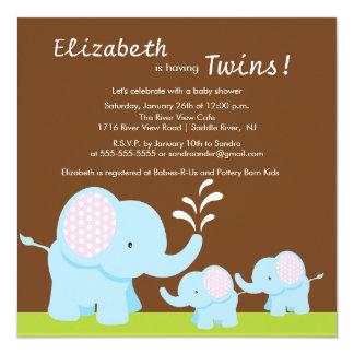 Mama & Twin Elephants Baby Shower Boy or Girl Card