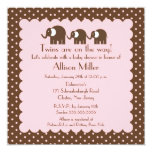 Mama & Twin Girls Baby Elephant Baby Shower Card